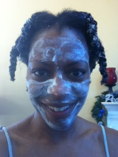 12/2011 Lol! Conditioning my hair with natural products. Also using product as a mask. All thanks to YouTuber Naptural85