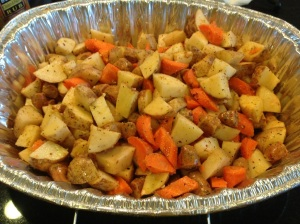 Pre-cooked carrots, potatoes, and chicken sausage