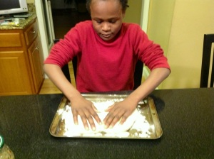 Tailor is so happy to get his hands on the dough!