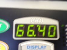 This is my time, including my warm up walk on the treadmill.  I wanted to run longer.  :)