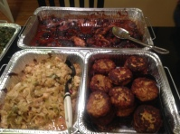 Cabbage, baked barbeque chicken, salmon cakes