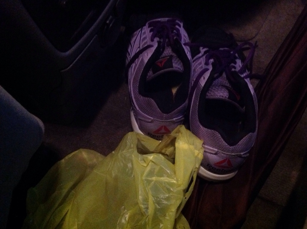 Just one pair of the funky crossfit sneaks in my car.  Lol!