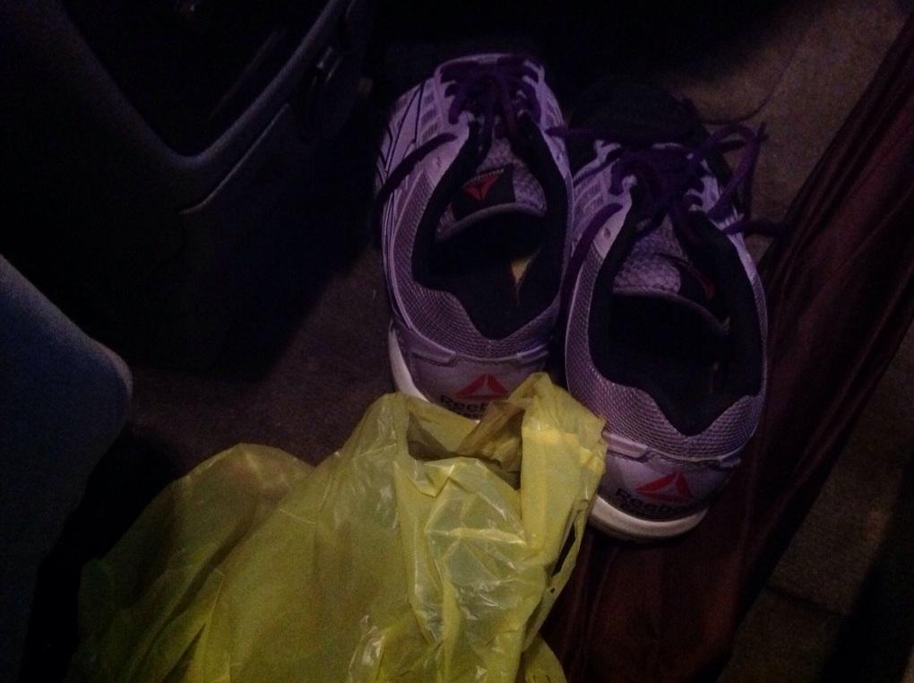 Just one pair of the funky crossfit sneaks in my car.  Lol!
