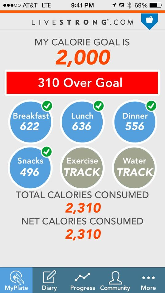 Because of my high metabolism, my daily calorie goal is 2000 - 2400