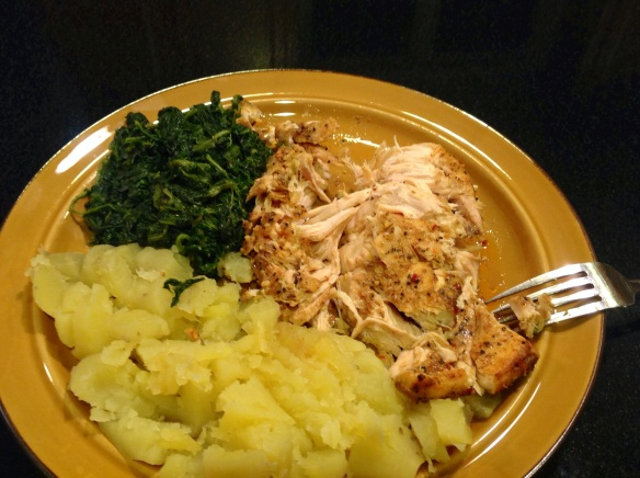 6 oz. chicken breast, 1 cup of white sweet potatoes, 1 cup of leafy frozen spinach