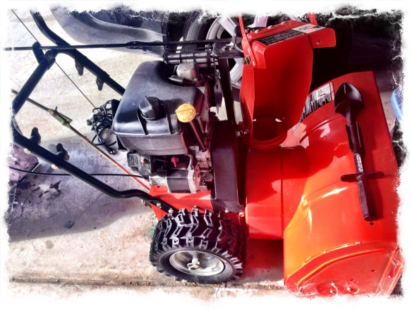 Hubby's snow thrower nesting in the garage.