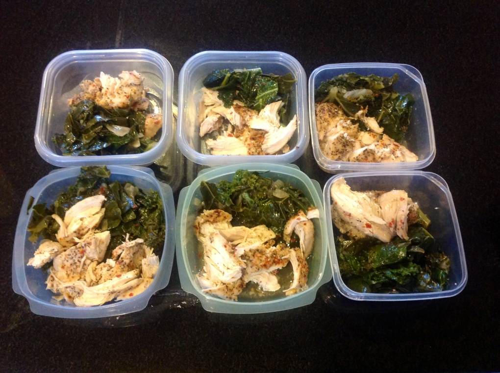 Kale/collard green blend with chicken.