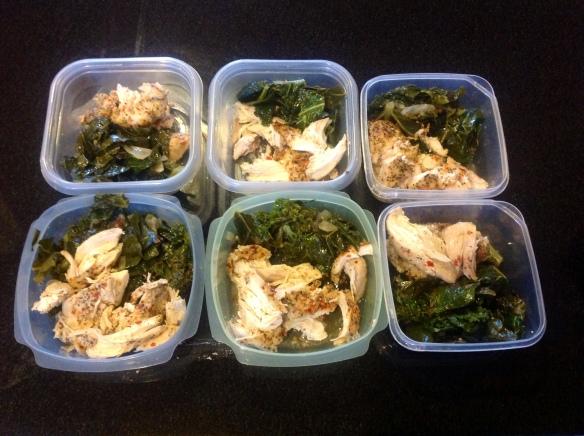 Kale/collard green blend with chicken.