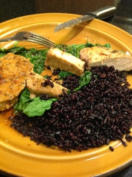 Mmm.. black rice, spinach, and center cut pork chops.